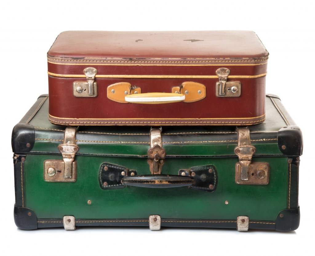 valigie vintage rossa e verde